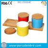 مختلفة لون مطبخ بهار آنية يثبت مع طبق مسطّح خشبيّة