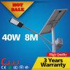 Cer RoHS 40W 8m heißes galvanisiertes Pole im Freien LED Solarstraßenlaterne