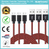 cable trenzado de nylon del cargador de la cuerda del USB del paño de la nueva tela de los 2m para Samsung