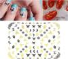 etiqueta do prego das etiquetas da arte do prego da água da flor de borboleta do preto do ouro 3D