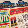 Etiqueta engomada para los juguetes del arte