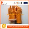 Химически перчатки работы, померанцовые перчатки PVC (DPV105)