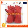 Gant fonctionnant fendu de gant de sécurité de gant en cuir de vache rouge (DLW615)