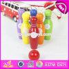 Mini gosses en bois en gros roulant jouant les jouets réglés W01A293 de bowling en bois coloré réglé d'enfants