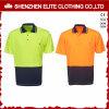 Camisas de polo de trabalho reflexivas verdes fluorescentes da alta qualidade (ELTSPSI-7)