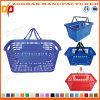 Panier à provisions en plastique neuf de luxe de traitement de double de supermarché (Zhb45)