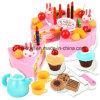 As crianças plásticas fingem brinquedo ajustado da cozinha do alimento do jogo para o bolo de aniversário do presente dos miúdos das meninas