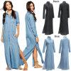Robe fendue tissée occasionnelle de cru de la longue chemise des femmes (A891)