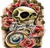 Tatuaje temporal impermeable del brazo de la etiqueta engomada del tatuaje del cráneo de moda