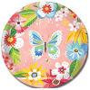 Porción disponible del vajilla de las placas de papel de las flores de mariposa