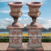 Tramonto Red Marble Flowerpot/Planter con Relief, Square Pillars