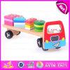 Juguete de madera del coche del bloque de 2015 cabritos creativos, juguete móvil educativo caliente del coche de la venta DIY, juguete de madera de múltiples funciones W04A160 del coche del bloque