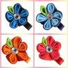 Blume Hairbows Kinder Hairclips beugt rundes Blumenblatt-Farbband-Haar Butike-Haar-Klipp-handgemachte Zubehör