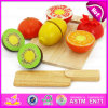 100%Green Paint Kids Pretend Play Wooden Cutting Fruits Toy, Cutting Game Educational Toy Wooden Fruit Toy W10b133