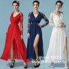 Сексуальный шнурок V-Шеи Fashiong разрезанное длиннее платье женщин