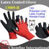 13G Красный полиэстер трикотажные перчатки с черным Latex морщин покрытие / EN388: 3232