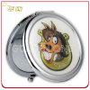 Espejo redondo del cosmético del metal de la insignia impresa y de epoxy del regalo personalizado
