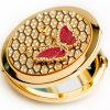Espelho cosmético Pocket pequeno dourado redondo por atacado com decoração do diamante