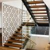 Escalier droit en acier de double lisse avec la balustrade en verre de Frameless