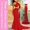 Longue robe de bal d'étudiants de soirée de sirène rouge de coupe-circuit