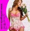 Lingerie bon marché 6033 de femmes de Babydoll de vente de sous-vêtements chauds sexy de fleur