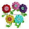 Villaggio Vintage Hand Crochet Flower Applique con Rhinestone Beads Leaves