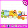 Sistema de madera del tren de 2015 de los nuevos cabritos de la invención bloques del juguete, tren de madera del juguete de los niños 18PCS, tren de madera educativo W05c013 del cargo de los juguetes