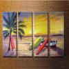 熱帯ココヤシの木Seascape/Landscapeの油絵(KLLA4-0009)