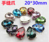 모조 다이아몬드 보석 금속 기초는 Chaton 유리제 모조 다이아몬드 (SW 하락 20*30mm)에 꿰맨다