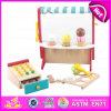 A loja de madeira de 2015 brinquedos educacionais, encantadora finge o brinquedo de madeira da loja de gelado dos cabritos do jogo, brinquedo ajustado W10A022 da loja de gelado do jogo do papel