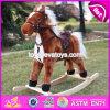 Juguete de madera del caballo de oscilación de oscilación de la venta caliente cabritos de madera divertidos del caballo de los mejores, caballo de oscilación de madera barato W16D066