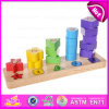 木のRainbow Tower Shape Geometric Sorter Blocks、Learn Count W13D093のためのEducation Wooden Geometric Shapes BlocksのためのToys