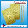 Etiqueta de perro rectangular única del metal de la etiqueta de perro del oro de encargo (lzy00134)