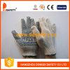 PVC перчаток Knit шнура хлопка/полиэфира голубой ставит точки одна сторона с логосом (DKP153)