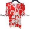 2016 숙녀를 위한 최신 인쇄 V 목 뜨개질을 하는 t-셔츠