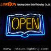 Signe au néon ouvert de mémoire de livre