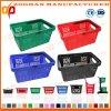Panier à provisions en plastique portatif de supermarché des meilleurs prix avec les traitements (Zhb111)