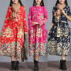 MaxiLinnen Lange Abayas van het Patroon van vrouwen het Bloemen (A933)