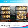 LEIDEN van de Prijs van het gas Teken met Tijd/de Vertoning van de Klok en het Teken van het Bericht