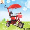 Marco de acero y triciclo del bebé del asiento del plástico con la cesta delantera