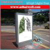 Movimiento en sentido vertical al aire libre que hace publicidad de la exhibición de la caja ligera