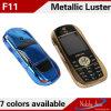 A venda por atacado colore o telefone de pilha duplo da faixa F11 do mini cartão duplo do estilo SIM da forma do carro
