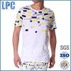 Coutume en gros de mode d'usine estampée autour du T-shirt d'hommes de collet