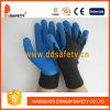 Голубой латекс покрывая 10 перчаток связанных Gague. Отделка Crinkle (DKL327)