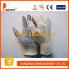 PVC 7 синих хлопков датчика естественный ставит точки перчатка (DKP109)