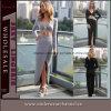 Maxi robe de soirée drapée asymétrique de 2 de couleurs femmes de mode (6718)