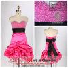 a - Linie Kurzschluss-Kleid der Prinzessin-Drap Waist Sweetheart Satin Cocktai mit Schärpe/Band (PP95)