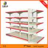 Doppeltes seitliches Stahlsupermarkt-Regal, Qualitäts-Supermarkt-Bildschirmanzeige-Zahnstange, Stahlspeicherzahnstangen, verwendete Supermarkt-Zahnstange und Laufkatze