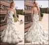 Платья венчания Nh84 вечера Tulle Mermaid мантий шикарной вышивки Bridal
