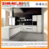 白く光沢度の高い現代食器棚